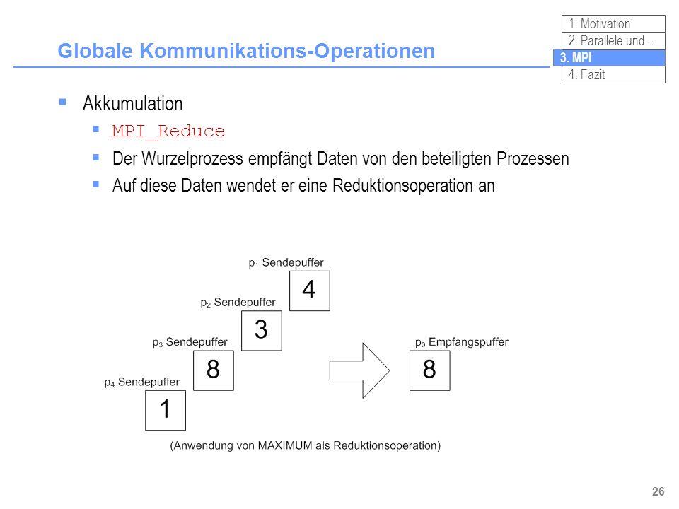 26 Globale Kommunikations-Operationen 3. MPI 2. Parallele und … 4. Fazit 1. Motivation Akkumulation MPI_Reduce Der Wurzelprozess empfängt Daten von de
