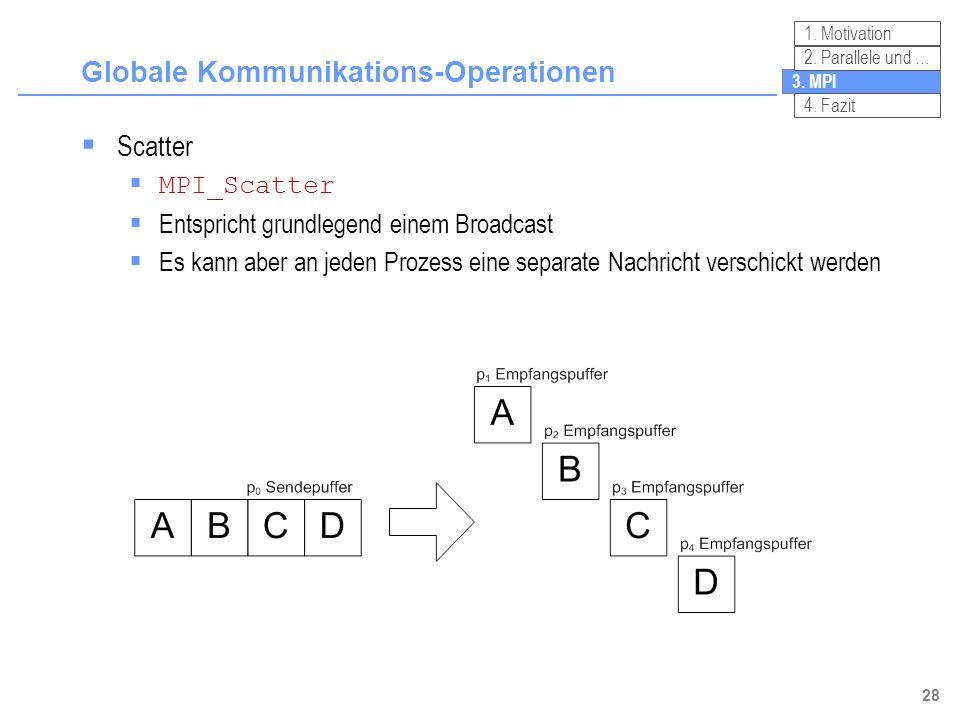 28 Globale Kommunikations-Operationen 3. MPI 2. Parallele und … 4. Fazit 1. Motivation Scatter MPI_Scatter Entspricht grundlegend einem Broadcast Es k
