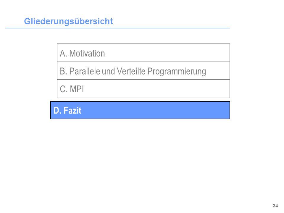 34 Gliederungsübersicht A. Motivation B. Parallele und Verteilte Programmierung C. MPI D. Fazit