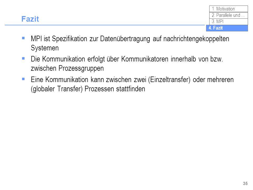 35 Fazit MPI ist Spezifikation zur Datenübertragung auf nachrichtengekoppelten Systemen Die Kommunikation erfolgt über Kommunikatoren innerhalb von bz