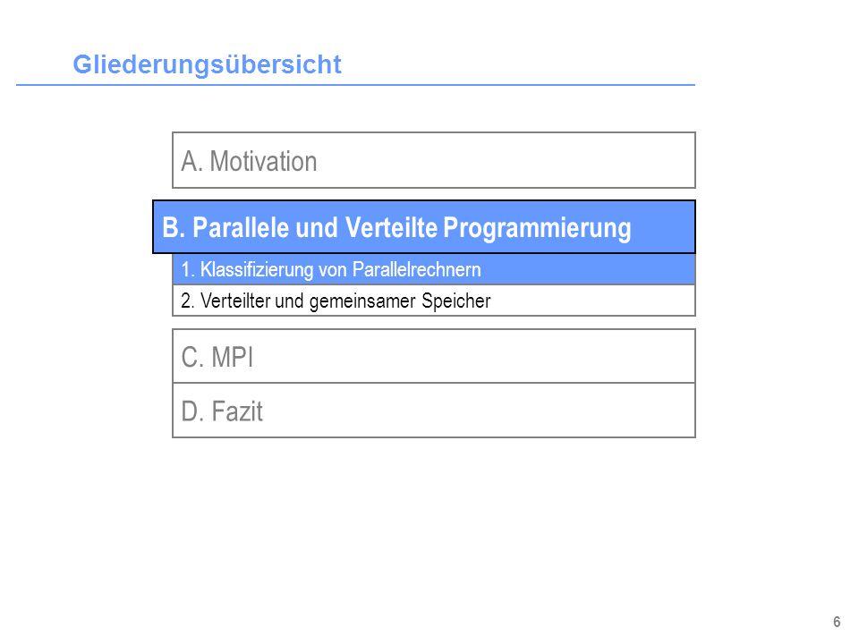 6 Gliederungsübersicht A. Motivation C. MPI 1. Klassifizierung von Parallelrechnern 2. Verteilter und gemeinsamer Speicher B. Parallele und Verteilte