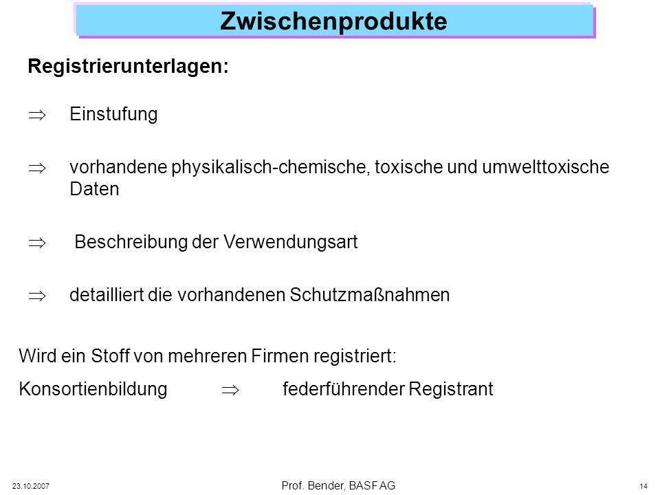 Prof. Bender, BASF AG 23.10.2007 14 Zwischenprodukte Registrierunterlagen: Einstufung vorhandene physikalisch-chemische, toxische und umwelttoxische D