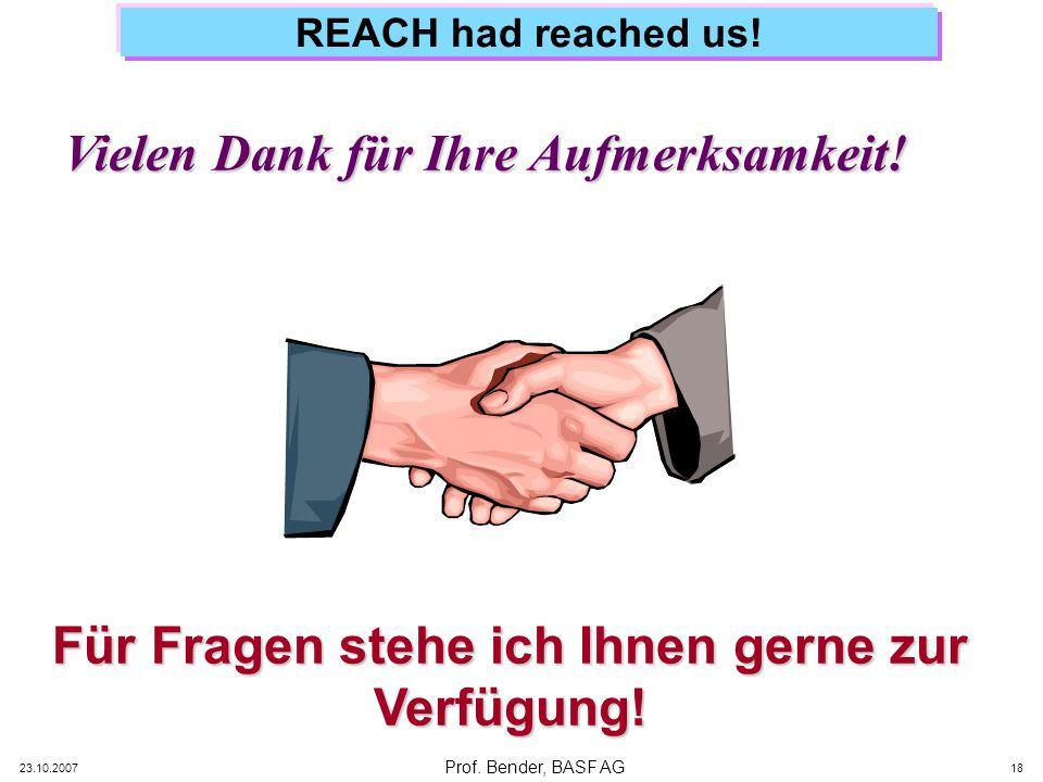 Prof. Bender, BASF AG 23.10.2007 18 REACH had reached us! Vielen Dank für Ihre Aufmerksamkeit! Für Fragen stehe ich Ihnen gerne zur Verfügung!