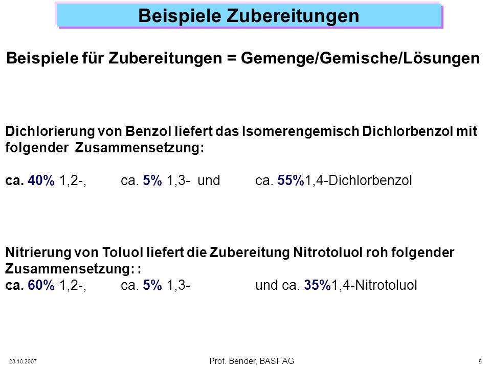 Prof. Bender, BASF AG 23.10.2007 5 Beispiele Zubereitungen Dichlorierung von Benzol liefert das Isomerengemisch Dichlorbenzol mit folgender Zusammense