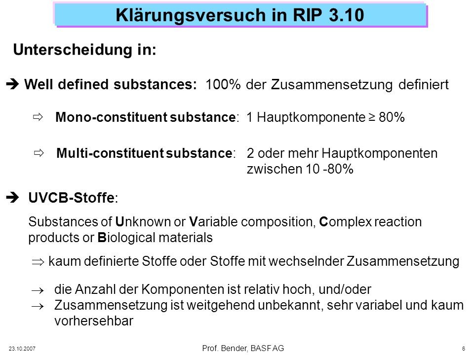 Prof. Bender, BASF AG 23.10.2007 6 Klärungsversuch in RIP 3.10 Unterscheidung in: Well defined substances:100% der Zusammensetzung definiert Mono-cons