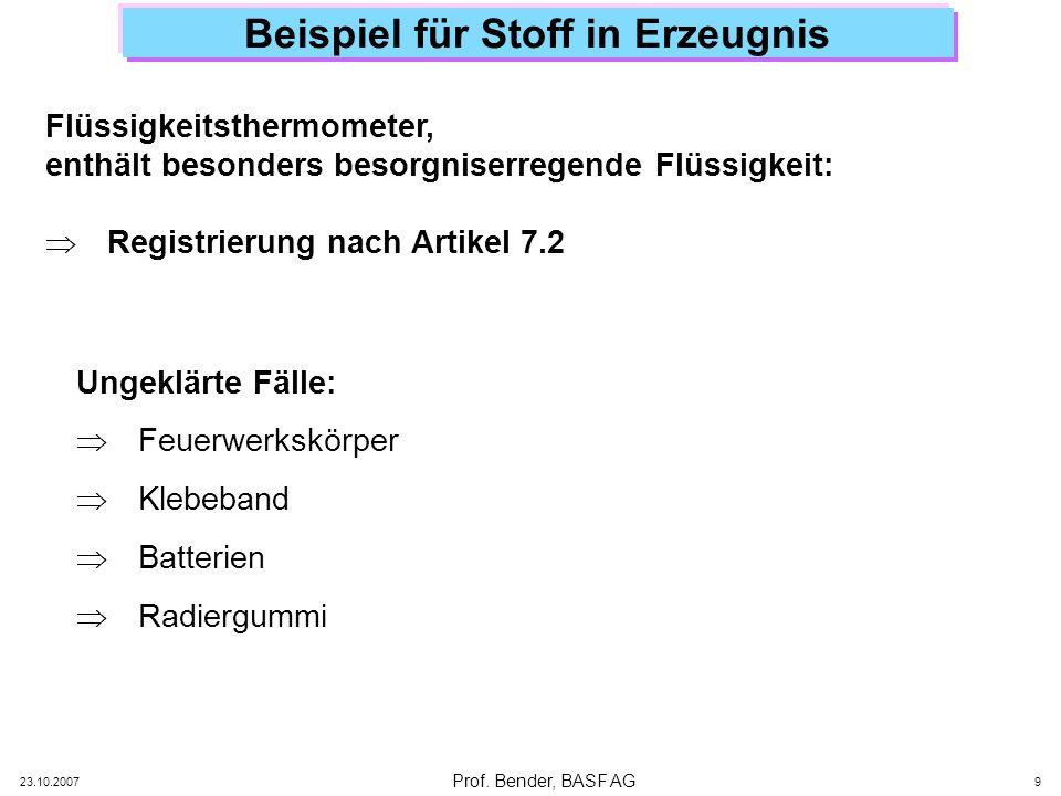 Prof. Bender, BASF AG 23.10.2007 9 Beispiel für Stoff in Erzeugnis Flüssigkeitsthermometer, enthält besonders besorgniserregende Flüssigkeit: Registri