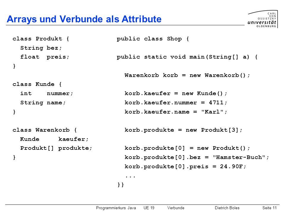 Programmierkurs JavaUE 19VerbundeDietrich BolesSeite 11 Arrays und Verbunde als Attribute class Produkt { String bez; float preis; } class Kunde { int