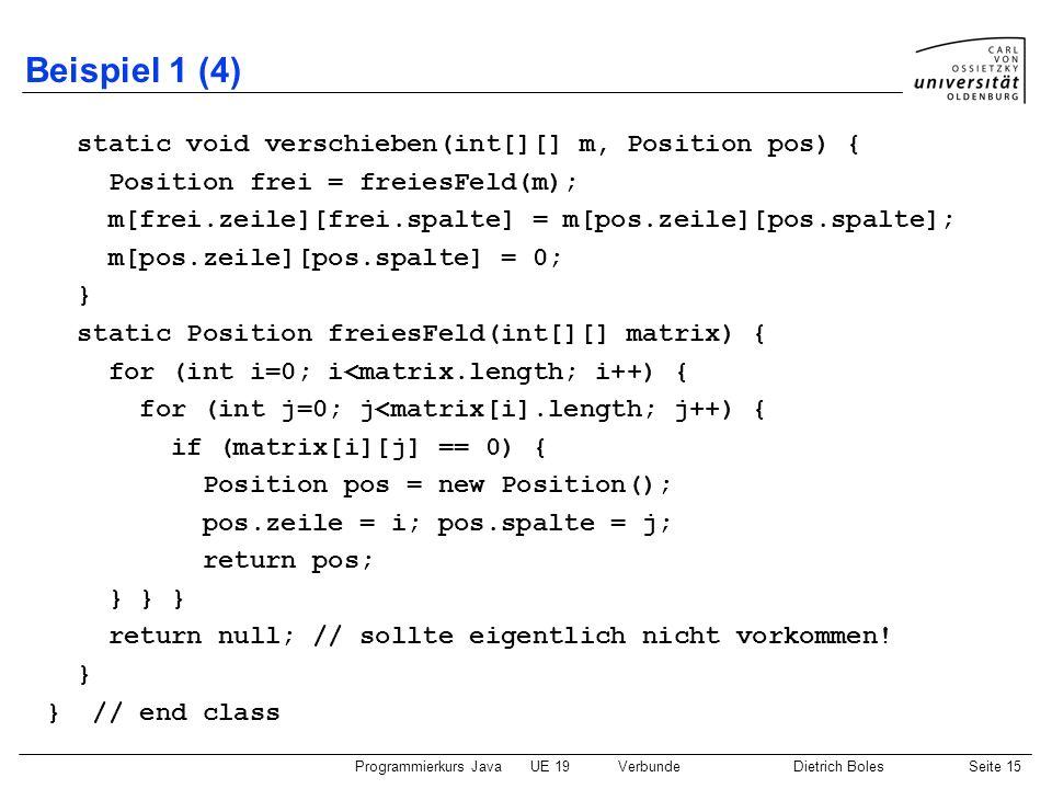 Programmierkurs JavaUE 19VerbundeDietrich BolesSeite 15 Beispiel 1 (4) static void verschieben(int[][] m, Position pos) { Position frei = freiesFeld(m