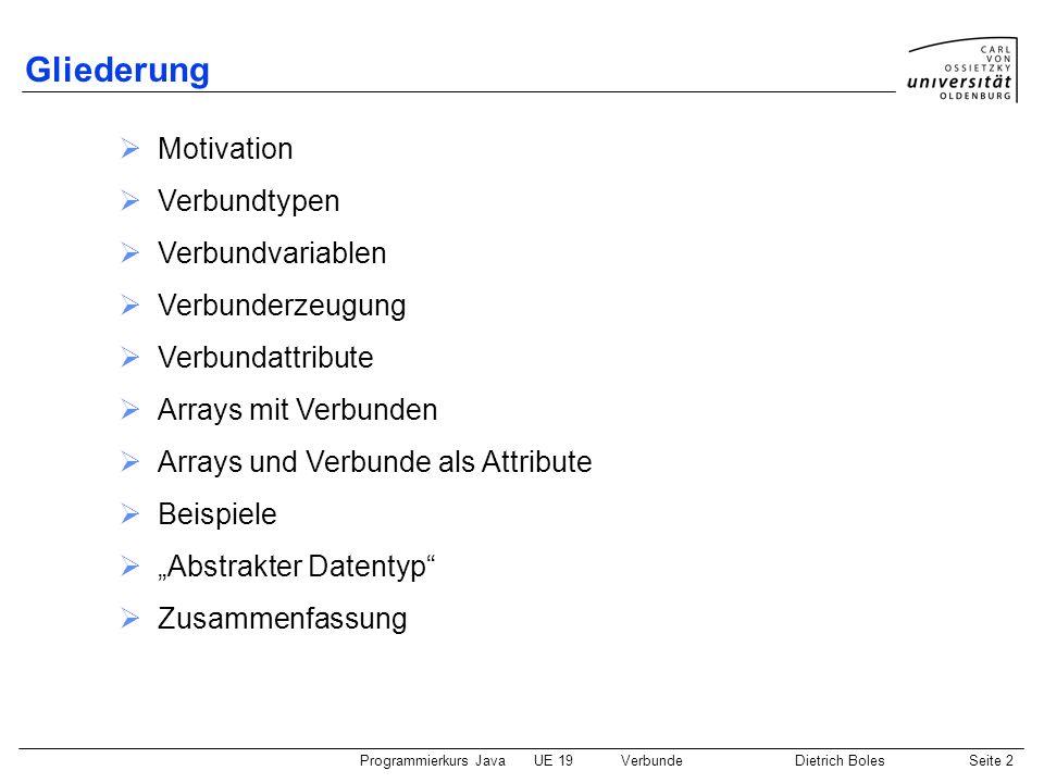 Programmierkurs JavaUE 19VerbundeDietrich BolesSeite 2 Gliederung Motivation Verbundtypen Verbundvariablen Verbunderzeugung Verbundattribute Arrays mi
