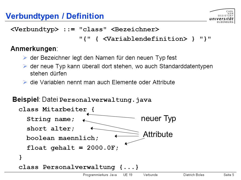 Programmierkurs JavaUE 19VerbundeDietrich BolesSeite 5 Verbundtypen / Definition ::=