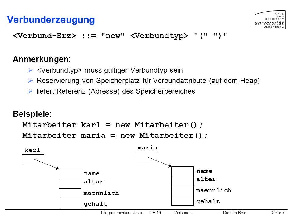 Programmierkurs JavaUE 19VerbundeDietrich BolesSeite 7 Verbunderzeugung ::=