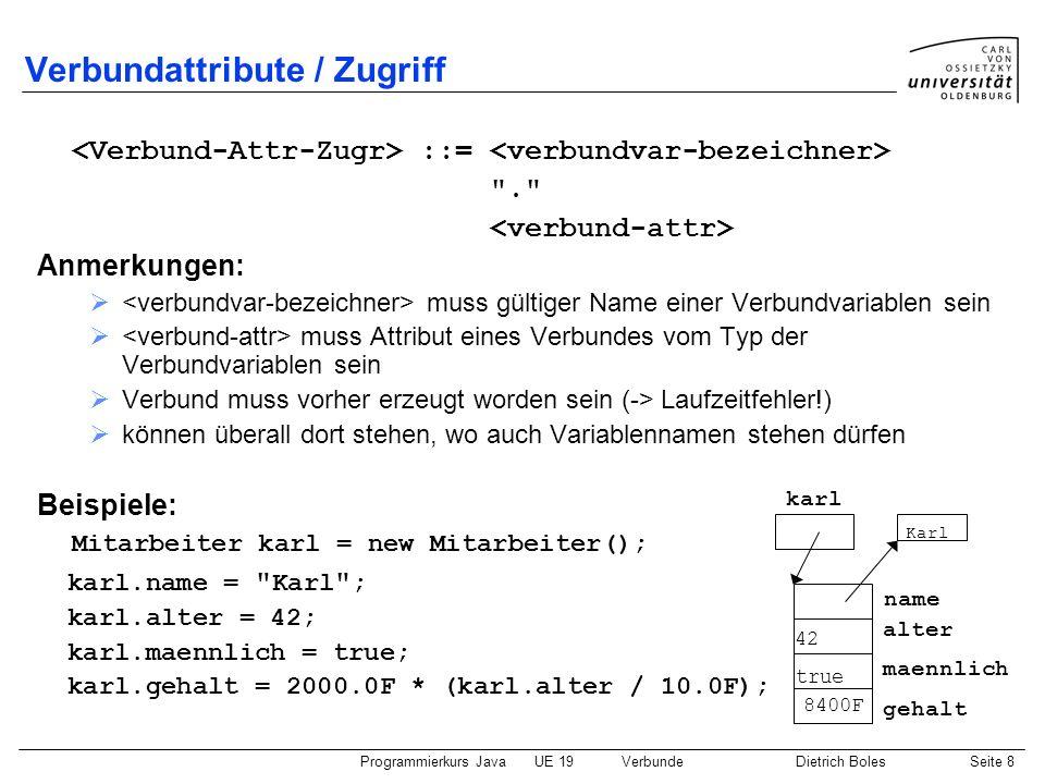 Programmierkurs JavaUE 19VerbundeDietrich BolesSeite 8 Verbundattribute / Zugriff ::=