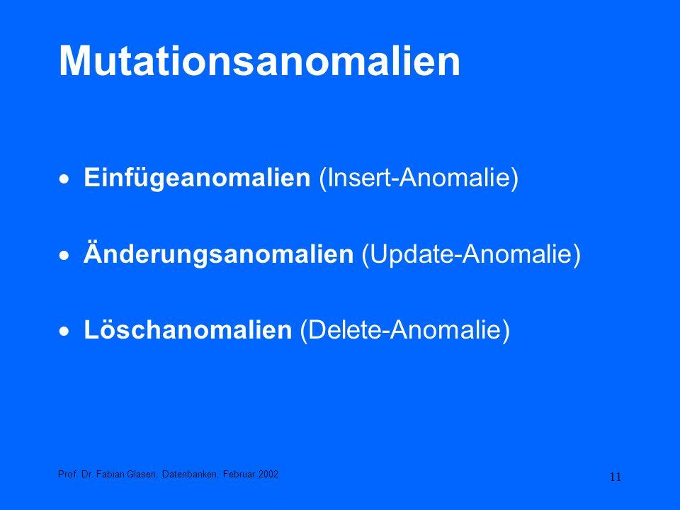 11 Mutationsanomalien Einfügeanomalien (Insert-Anomalie) Änderungsanomalien (Update-Anomalie) Löschanomalien (Delete-Anomalie) Prof. Dr. Fabian Glasen