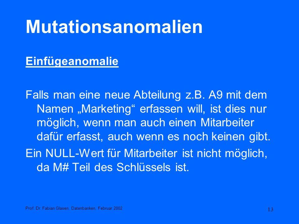 13 Mutationsanomalien Einfügeanomalie Falls man eine neue Abteilung z.B. A9 mit dem Namen Marketing erfassen will, ist dies nur möglich, wenn man auch