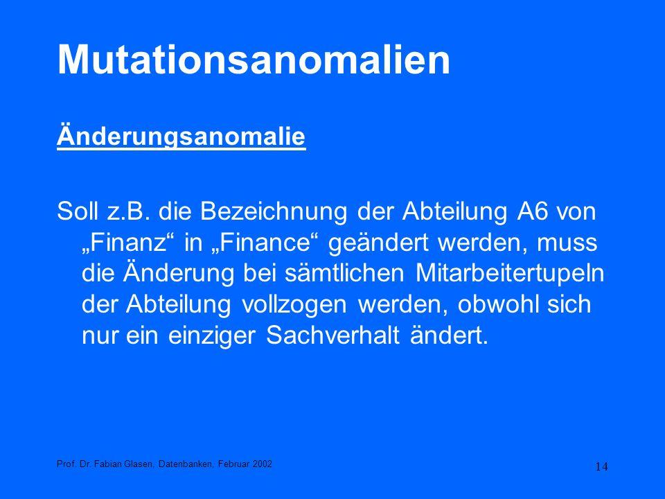 14 Mutationsanomalien Änderungsanomalie Soll z.B. die Bezeichnung der Abteilung A6 von Finanz in Finance geändert werden, muss die Änderung bei sämtli