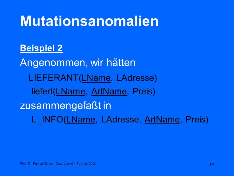 19 Mutationsanomalien Beispiel 2 Angenommen, wir hätten LIEFERANT(LName, LAdresse) liefert(LName, ArtName, Preis) zusammengefaßt in L_INFO(LName, LAdr