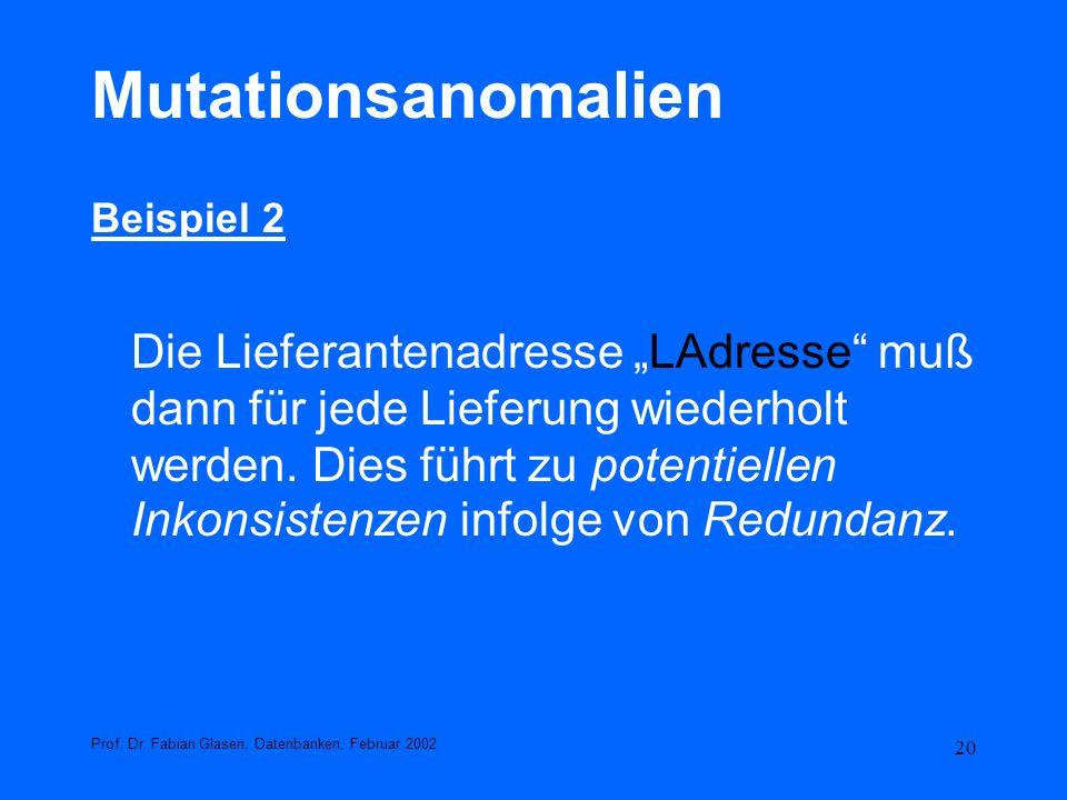 20 Mutationsanomalien Beispiel 2 Die Lieferantenadresse LAdresse muß dann für jede Lieferung wiederholt werden. Dies führt zu potentiellen Inkonsisten