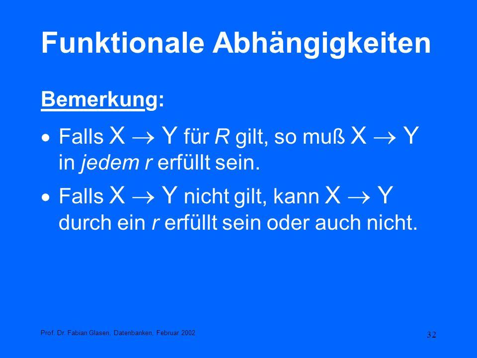 32 Funktionale Abhängigkeiten Bemerkung: Falls X Y für R gilt, so muß X Y in jedem r erfüllt sein. Falls X Y nicht gilt, kann X Y durch ein r erfüllt