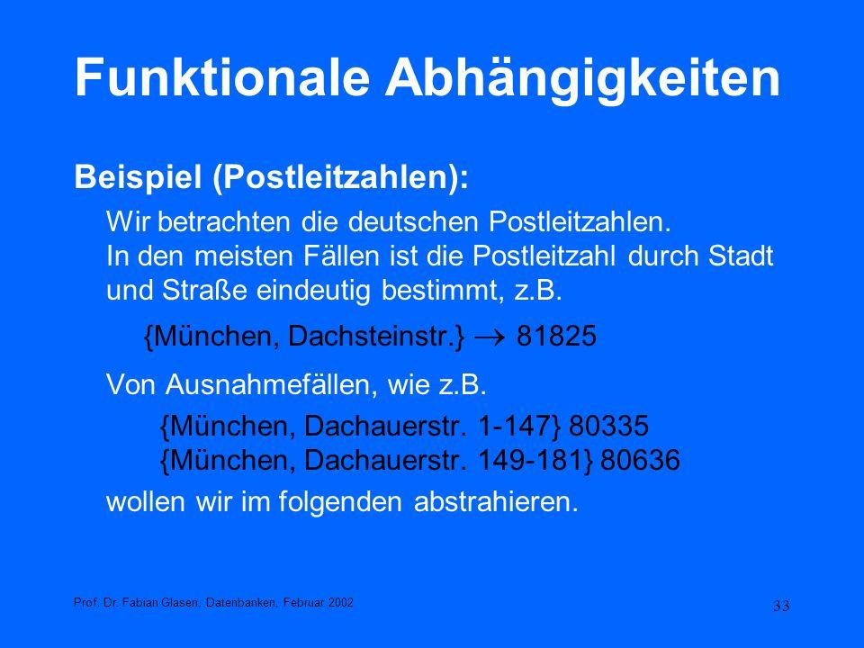 33 Funktionale Abhängigkeiten Beispiel (Postleitzahlen): Wir betrachten die deutschen Postleitzahlen. In den meisten Fällen ist die Postleitzahl durch