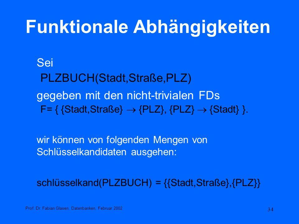 34 Funktionale Abhängigkeiten Sei PLZBUCH(Stadt,Straße,PLZ) gegeben mit den nicht-trivialen FDs F= { {Stadt,Straße} {PLZ}, {PLZ} {Stadt} }. wir können