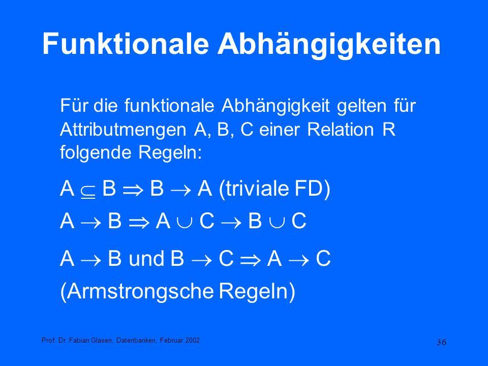 36 Funktionale Abhängigkeiten Für die funktionale Abhängigkeit gelten für Attributmengen A, B, C einer Relation R folgende Regeln: A B B A (triviale F