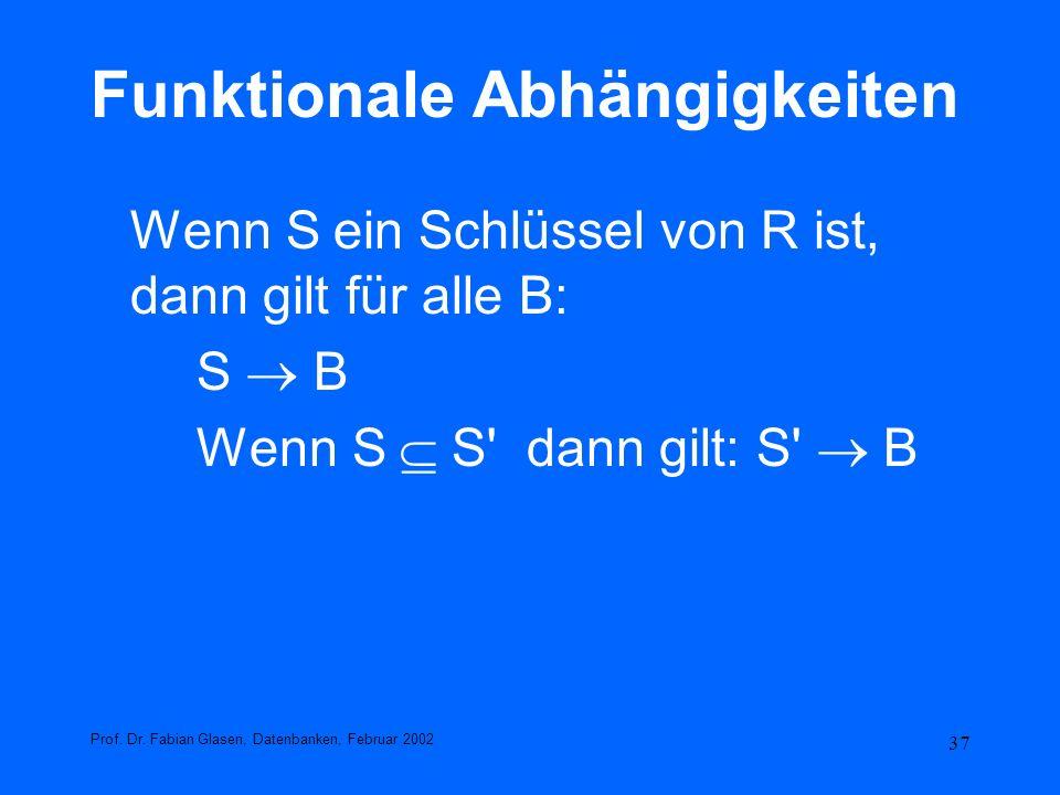37 Funktionale Abhängigkeiten Wenn S ein Schlüssel von R ist, dann gilt für alle B: S B Wenn S S' dann gilt: S' B Prof. Dr. Fabian Glasen, Datenbanken