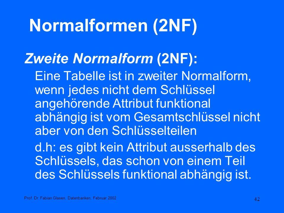 42 Normalformen (2NF) Zweite Normalform (2NF): Eine Tabelle ist in zweiter Normalform, wenn jedes nicht dem Schlüssel angehörende Attribut funktional