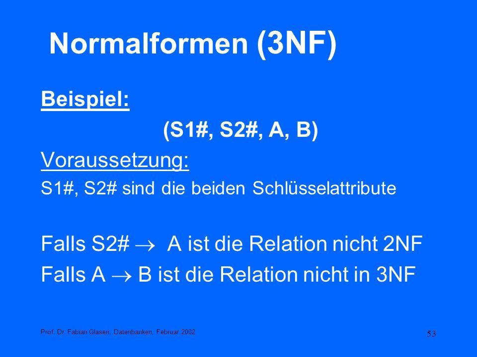 53 Normalformen (3NF) Beispiel: (S1#, S2#, A, B) Voraussetzung: S1#, S2# sind die beiden Schlüsselattribute Falls S2# A ist die Relation nicht 2NF Fal