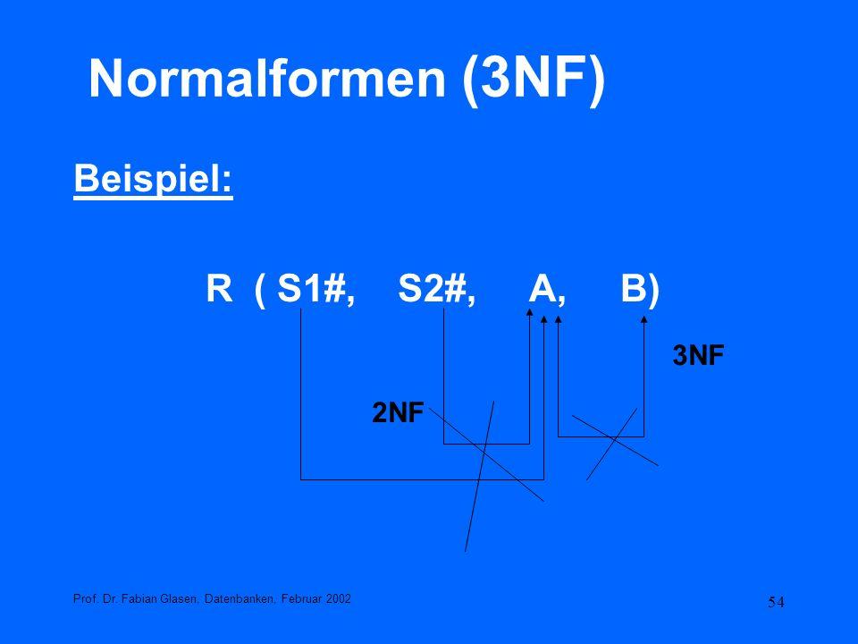 54 Normalformen (3NF) Beispiel: R ( S1#, S2#, A, B) Prof. Dr. Fabian Glasen, Datenbanken, Februar 2002 3NF 2NF