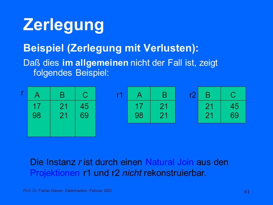 61 Zerlegung Beispiel (Zerlegung mit Verlusten): Daß dies im allgemeinen nicht der Fall ist, zeigt folgendes Beispiel: Prof. Dr. Fabian Glasen, Datenb
