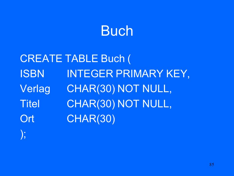 85 Buch CREATE TABLE Buch ( ISBN INTEGER PRIMARY KEY, Verlag CHAR(30) NOT NULL, Titel CHAR(30) NOT NULL, Ort CHAR(30) );