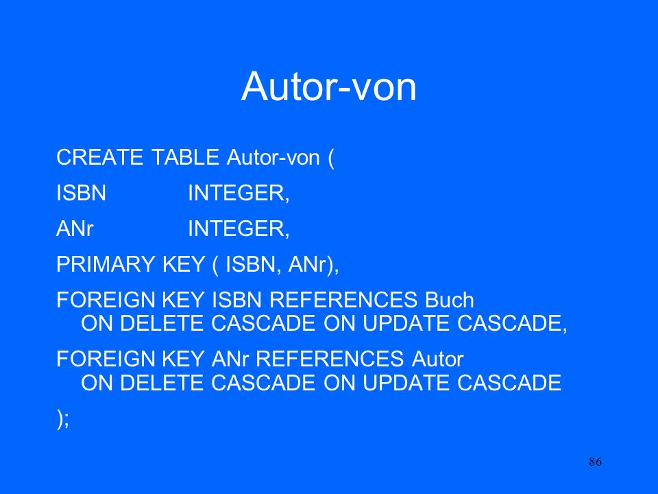 86 Autor-von CREATE TABLE Autor-von ( ISBNINTEGER, ANrINTEGER, PRIMARY KEY ( ISBN, ANr), FOREIGN KEY ISBN REFERENCES Buch ON DELETE CASCADE ON UPDATE