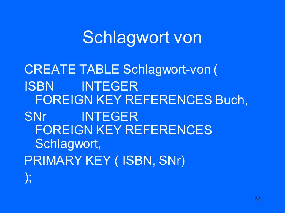 88 Schlagwort von CREATE TABLE Schlagwort-von ( ISBN INTEGER FOREIGN KEY REFERENCES Buch, SNr INTEGER FOREIGN KEY REFERENCES Schlagwort, PRIMARY KEY (
