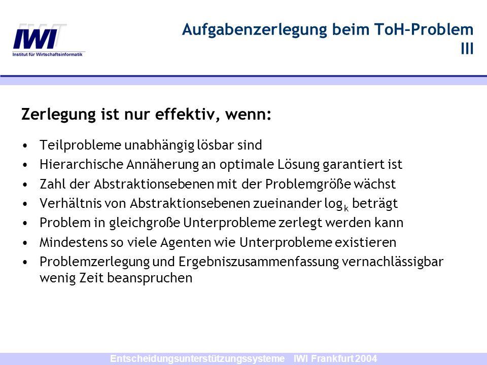 Entscheidungsunterstützungssysteme IWI Frankfurt 2004 Aufgabenzerlegung beim ToH–Problem III Zerlegung ist nur effektiv, wenn: Teilprobleme unabhängig
