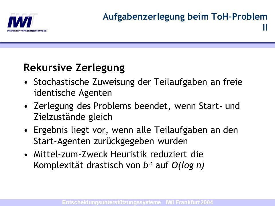 Entscheidungsunterstützungssysteme IWI Frankfurt 2004 Aufgabenzerlegung beim ToH–Problem II Rekursive Zerlegung Stochastische Zuweisung der Teilaufgab