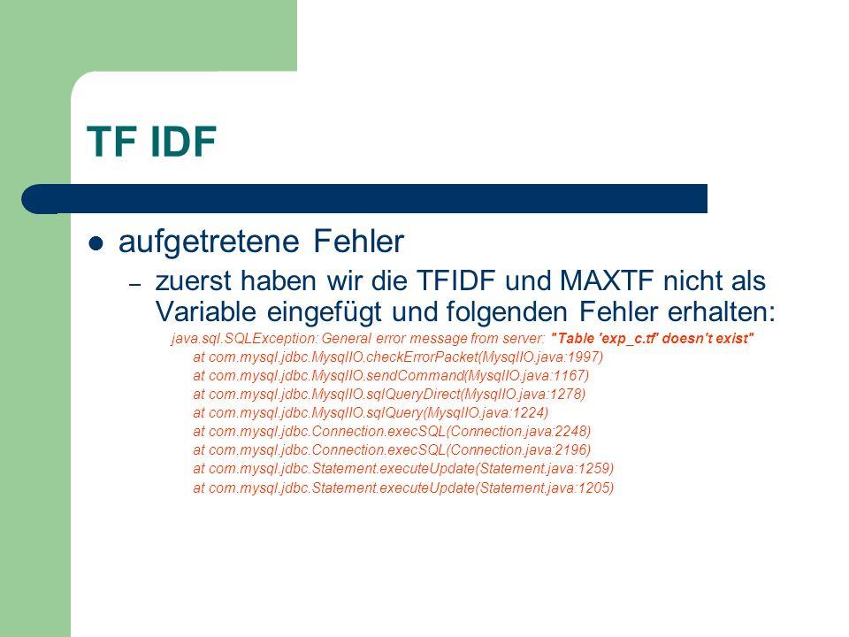 TF IDF aufgetretene Fehler – zuerst haben wir die TFIDF und MAXTF nicht als Variable eingefügt und folgenden Fehler erhalten: java.sql.SQLException: G