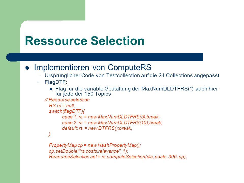 Ressource Selection Implementieren von ComputeRS – Ursprünglicher Code von Testcollection auf die 24 Collections angepasst – FlagDTF: Flag für die var