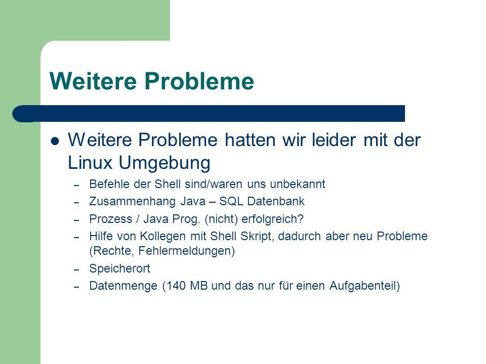 Weitere Probleme Weitere Probleme hatten wir leider mit der Linux Umgebung – Befehle der Shell sind/waren uns unbekannt – Zusammenhang Java – SQL Date