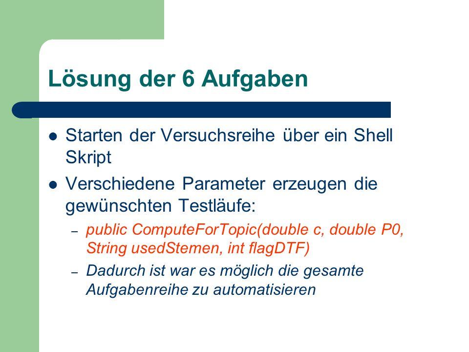 Lösung der 6 Aufgaben Starten der Versuchsreihe über ein Shell Skript Verschiedene Parameter erzeugen die gewünschten Testläufe: – public ComputeForTo