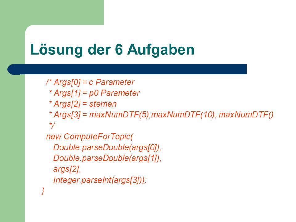 Lösung der 6 Aufgaben /* Args[0] = c Parameter * Args[1] = p0 Parameter * Args[2] = stemen * Args[3] = maxNumDTF(5),maxNumDTF(10), maxNumDTF() */ new