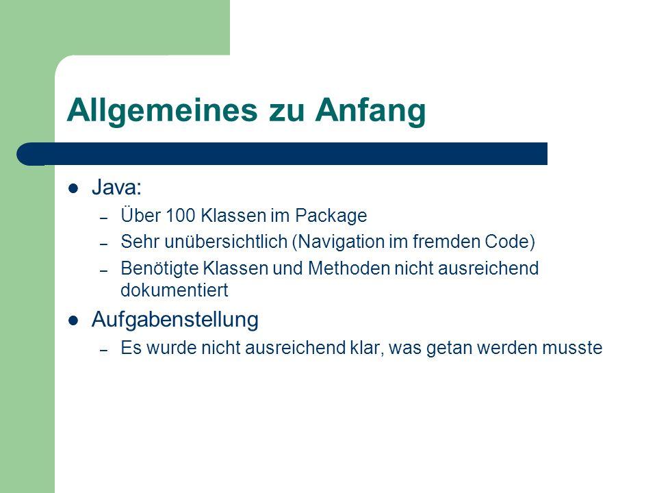 Allgemeines zu Anfang Java: – Über 100 Klassen im Package – Sehr unübersichtlich (Navigation im fremden Code) – Benötigte Klassen und Methoden nicht a