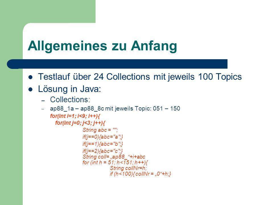 Allgemeines zu Anfang Testlauf über 24 Collections mit jeweils 100 Topics Lösung in Java: – Collections: – ap88_1a – ap88_8c mit jeweils Topic: 051 –