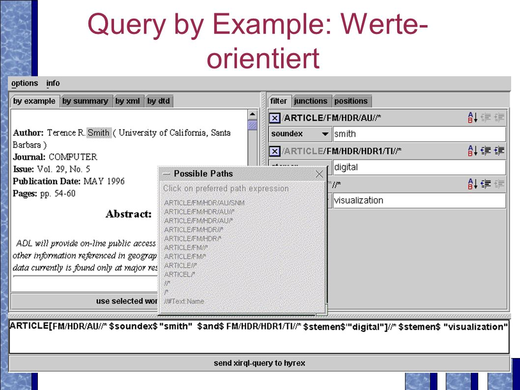 Query by Example: Werte- orientiert