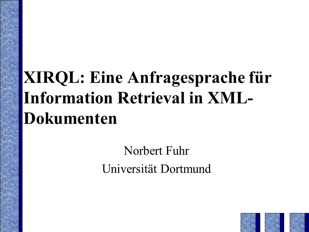 XQL document class= H.3.3 author John Smith title XML Retrieval Introduction chapter headingThis...