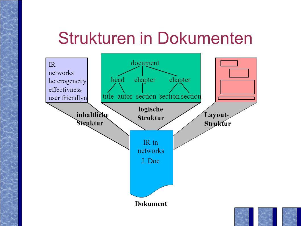 Probabilistisches Retrieval in XIRQL Problem: Gewichtung unterschiedlicher Vorkommensformen von Termen /document[.//heading XML .//section//* XML ] document Introduction chapter headingThis...