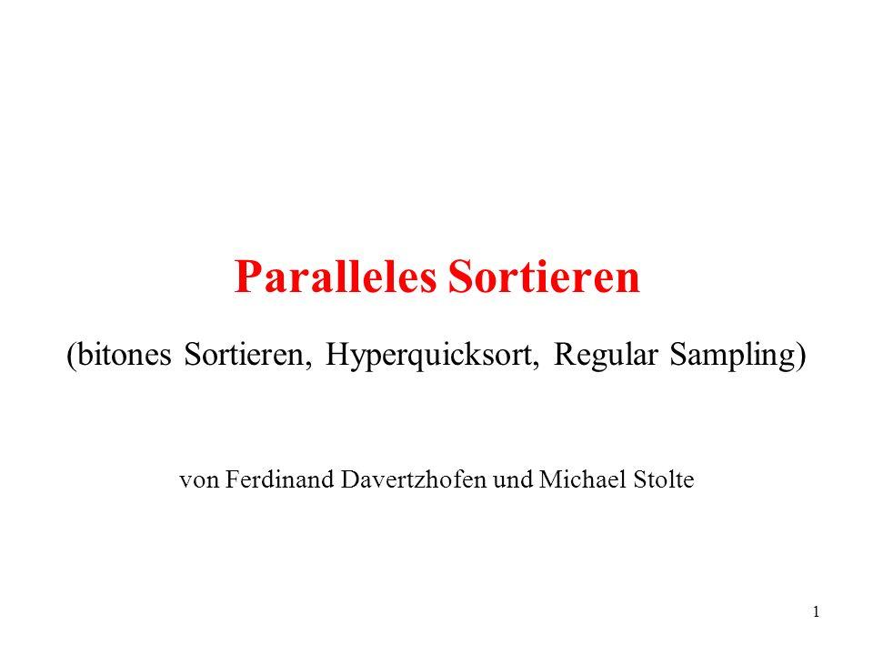 1 Paralleles Sortieren (bitones Sortieren, Hyperquicksort, Regular Sampling) von Ferdinand Davertzhofen und Michael Stolte