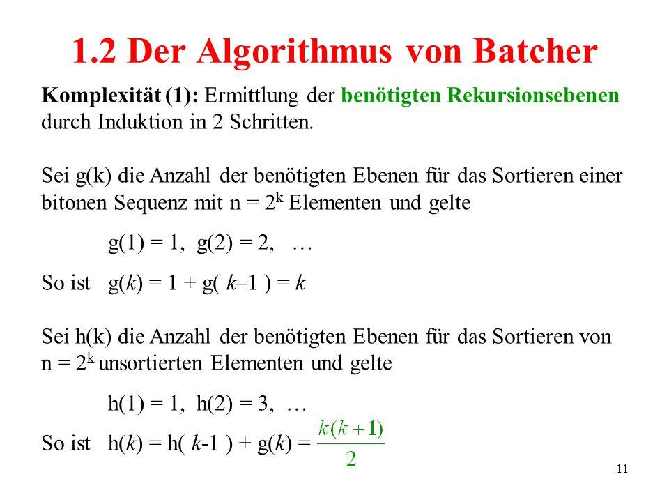 11 Komplexität (1): Ermittlung der benötigten Rekursionsebenen durch Induktion in 2 Schritten. Sei g(k) die Anzahl der benötigten Ebenen für das Sorti