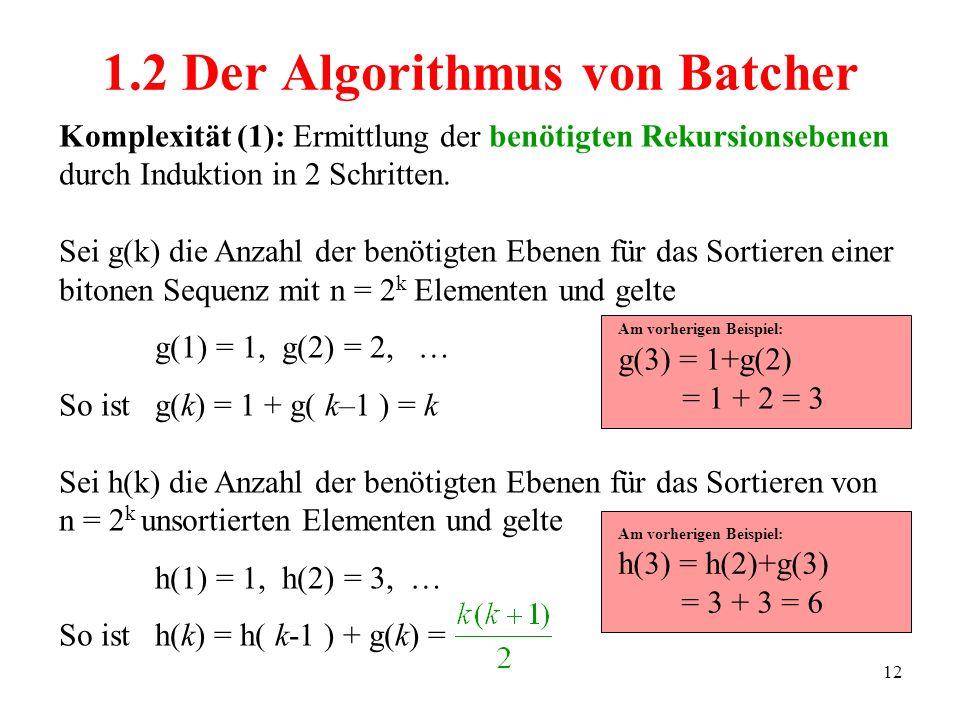 12 Komplexität (1): Ermittlung der benötigten Rekursionsebenen durch Induktion in 2 Schritten. Sei g(k) die Anzahl der benötigten Ebenen für das Sorti