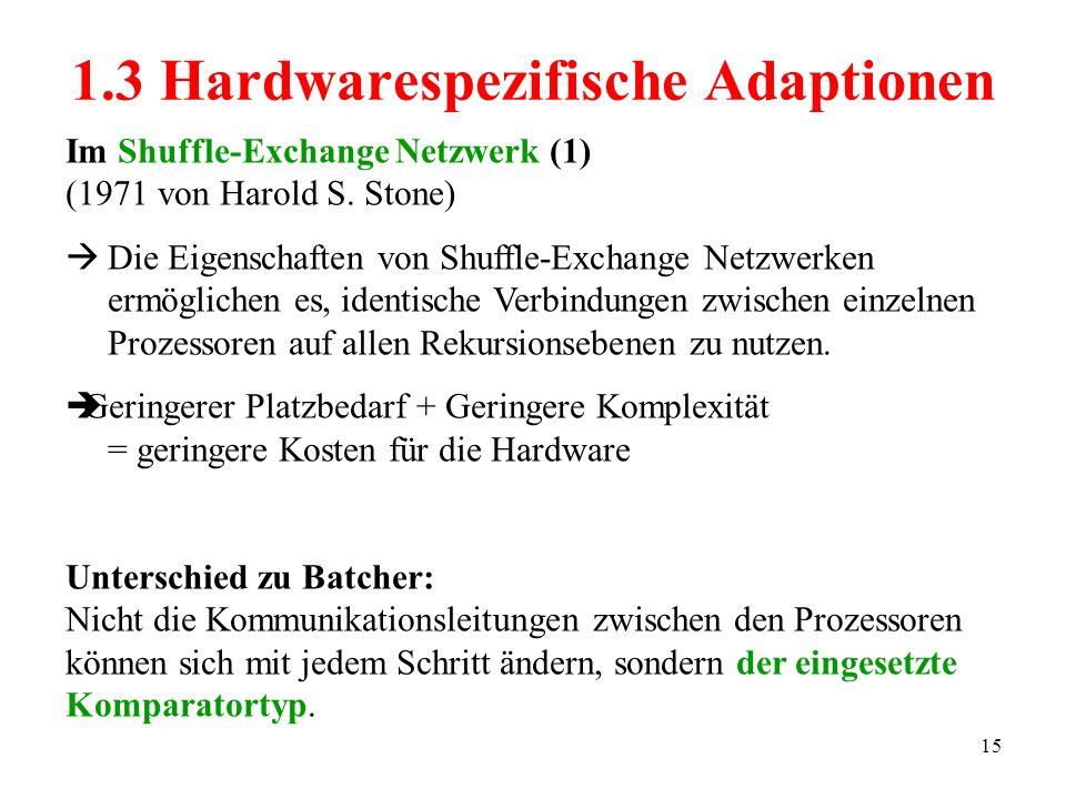 15 Im Shuffle-Exchange Netzwerk (1) (1971 von Harold S. Stone) Die Eigenschaften von Shuffle-Exchange Netzwerken ermöglichen es, identische Verbindung