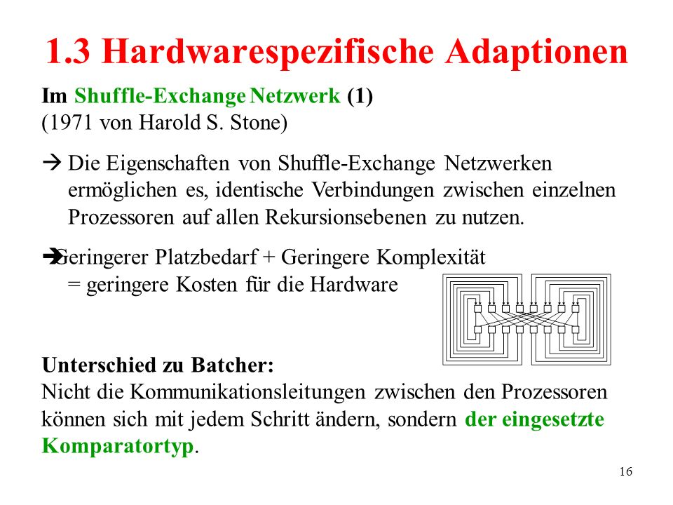 16 Im Shuffle-Exchange Netzwerk (1) (1971 von Harold S. Stone) Die Eigenschaften von Shuffle-Exchange Netzwerken ermöglichen es, identische Verbindung